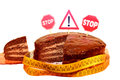 Chocolate cake with prohibitory traffic signs Royalty Free Stock Images