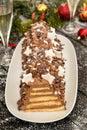Chocolate cake pyramid Royalty Free Stock Photo