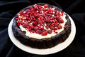 Chocolate cake with red fruits and cream Royalty Free Stock Photo