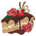 Chocolate cake and roses of love