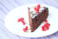 Chocolate cake a slice of on a plate Royalty Free Stock Photos