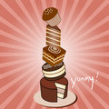 Chocolate Cake Stack Stock Image