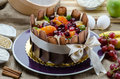Chocolate cake still life decorated with fresh fruits Royalty Free Stock Photo