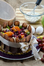 Chocolate cake still life decorated with fresh fruits Royalty Free Stock Images