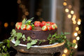 Chocolate Cake with Strawberries Stock Photography