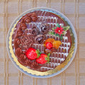 Chocolate cake with strawberries and fruits Stock Photo