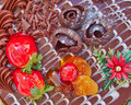 Chocolate cake with strawberries and fruits closeup Stock Photography