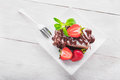 Chocolate cake with strawberry Royalty Free Stock Photo
