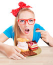 Chocolate and cake sweets temptation funny woman is eating dessert Royalty Free Stock Photography