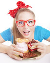 Chocolate and cake sweets temptation funny womanis eating dessert Royalty Free Stock Photography