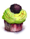 Chocolate cake watercolor illustration of Stock Photo