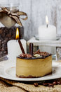 Chocolate cake on white plate festive and party dessert selective focus Stock Photos