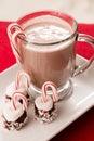 Chocolate caliente en una taza con la melcocha y el caramelo cane christmas Foto de archivo libre de regalías