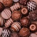 Chocolate candies. Belgian truffles Royalty Free Stock Photo