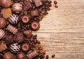 Chocolate candies. Collection of beautiful Belgian truffles Royalty Free Stock Photo