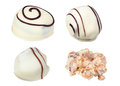 Chocolate candies made of white file contains clipping path Stock Photos