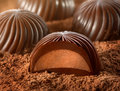 Chocolate candy with cocoa macro shot Stock Images