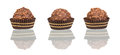 Chocolate candy in tartlet form on white Royalty Free Stock Photos