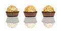 Chocolate candy in tartlet form on white background Royalty Free Stock Photography