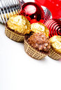 Chocolate candy treats Christmas New Year theme Stock Photo
