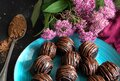 Chocolate candy truffles and pink flowers on dark background. Delicious treat, sweet dessert Royalty Free Stock Photo
