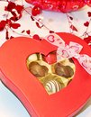 Chocolate candy variety in a heart shaped box Royalty Free Stock Image