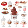 Chocolate candy vector sweet confection dessert with cocoa in glass jar in confectionery shop illustration of tasty