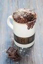 Chocolate caramel cake in a mug Royalty Free Stock Photo