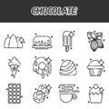 Chocolate cartoon concept icons