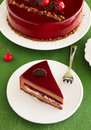 Chocolate cherry cake covered