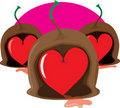 Chocolate Cherry Heart Stock Photo