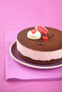 Chocolate cherry mousse cake with macarons on a purple plate and on a purple tablecloth Stock Images