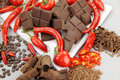 Chocolate And Chillies Royalty Free Stock Images