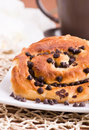 Chocolate chip brioche bun. Royalty Free Stock Images