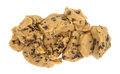 Chocolate chip cookie dough chunks on a white background Royalty Free Stock Photo