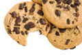 Chocolate chip cookie with missing bite Royalty Free Stock Image