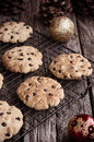Chocolate chip cookies at christmas time home baked on cooling rack Stock Photo
