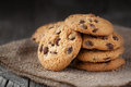 Chocolate chip cookies homemade on old wooden background selective focus Royalty Free Stock Photography