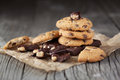 Chocolate chip cookies homemade on old wooden background selective focus Stock Photo