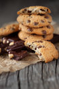 Chocolate chip cookies homemade on old wooden background selective focus Stock Photos