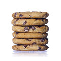 Chocolate chip cookies isolated homemade pastry biscuits on white background Stock Image