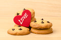 Chocolate chip cookies with love on wooden background in valentine day Stock Images