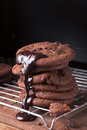 Chocolate chip cookies tall stack of soft with a reflective shadow Stock Photography