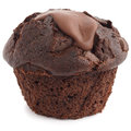 Chocolate chip muffin unwrapped on whit white Stock Photography