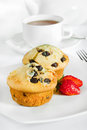 Chocolate chip muffins and tea Royalty Free Stock Image