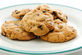 Chocolate chip and walnut cookies oven fresh home made Royalty Free Stock Photography