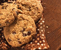 Chocolate chips cookies bisquits with and nuts Stock Photography