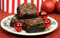 Chocolate Christmas Brownies Stock Images