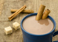 Chocolate with cinnamon stick hot Stock Photos
