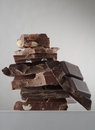 Chocolate close up view of different kind of on grey back Royalty Free Stock Images